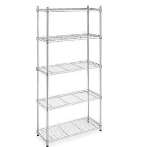 Chrome/Black 5-Shelf Steel Wire Tier Layer Shelving 72''x36''x14'' Storage Rack 75 Black by Genric