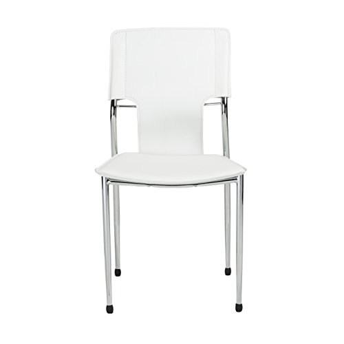 Eurø Style Terry Side Chair, Set of 4, White Leatherette with Chrome Legs