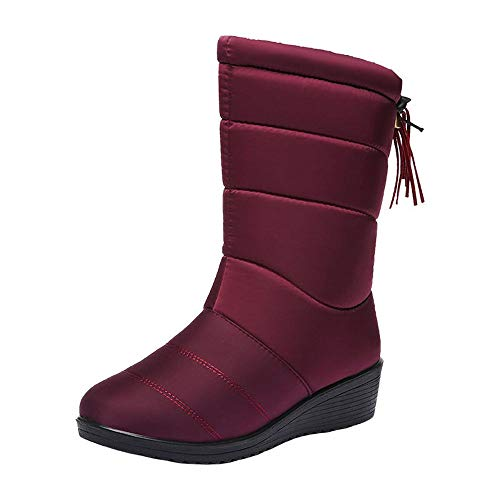 On De Plates Manadlian Imperméable Rouge Chaussures Lined Slip Boots Bottes Boot Peluche Chaud Casual Femme Hiver Suède Neige Femmes vqvdFf