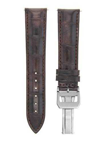 - Ewatchparts 22MM Leather Strap Watch Band Deployment Clasp for IWC Portuguese Dark Brown 7B