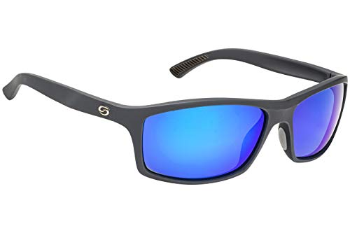 Strike King S11 Brazos Polarized Sunglasses, UVA/UVB Protection, Matte Black Frame, Multi-Layer White Blue Mirror Gray Base Lens