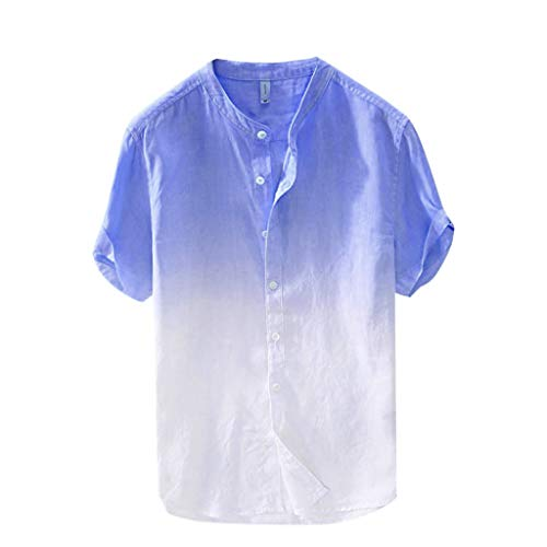 FONMA Summer Men's Cool and Thin Breathable Collar Hanging Dyed Gradient Cotton Shirt Sky Blue]()