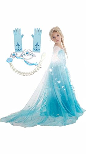 Frozen Inspired Dress (5-6 Years/Tag 130, 5-Piece Elsa) (Up Dress Princess Dresses)