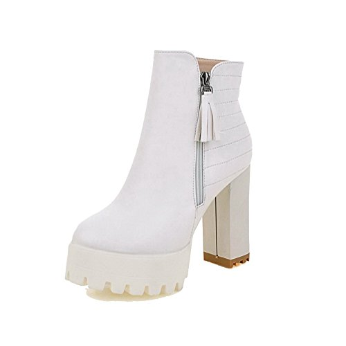 AllhqFashion Womens High-Heels Solid Round Closed Toe Soft Material Zipper Boots White 09Rwe3o