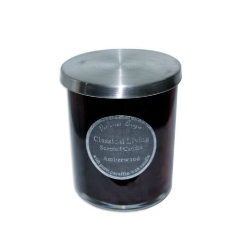 10Cm Scented Candle In Glass Jar With Stainless Steel Lid Amberwood Mq-549 ()