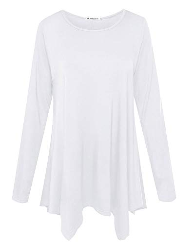 JollieLovin Womens Long Sleeve Tunic Top Loose Plus Size T Shirt (White -