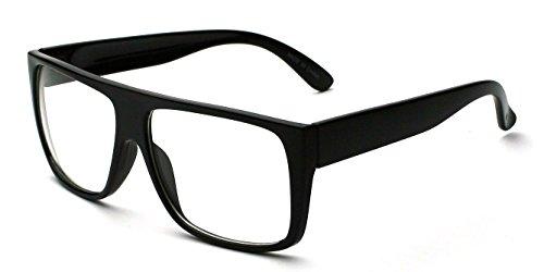 Black Square Glasses Clear Lens Thick Frame Nerd - Frames Lenses For Thick