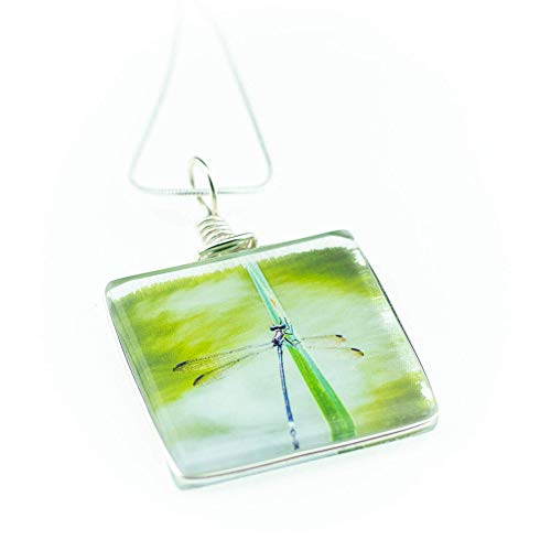 Dragonfly Necklace, Handmade Glass Pendant on 18