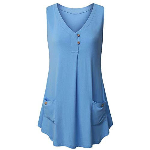 TANGSen Womens Casual V-Neck Sleeveless Top Ladies Buttons Design Tank Tops Summer Fashion Pocket Loose Blouse Blue ()