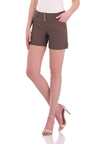 Rekucci Women's Ease Into Comfort Stretchable Pull-On 5 inch Slimming Tab Short (6,Mocha)