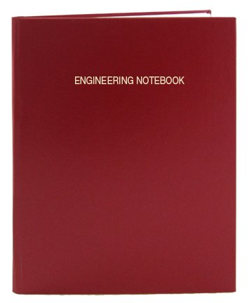 BookFactory Red Engineering Notebook - 96 Pages (.25'' Engineering Grid Format), 8 7/8'' x 11 1/4'', Engineering Lab Notebook, Red Cover, Smyth Sewn Hardbound (EPRIL-096-LGS-A-LRT4) by BookFactory