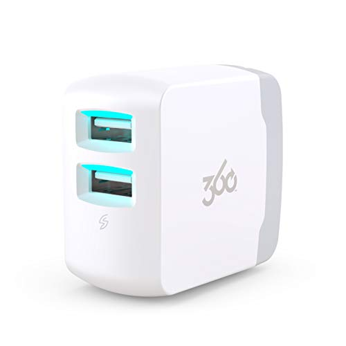 360 Electrical 360659 Vivid 3.4 USB Wall Charger with Two USB Ports, 3.4 Amp (17 Watt) Charging Power, Folding Plug, LED Guide Lights and Charge Sense Technology ()