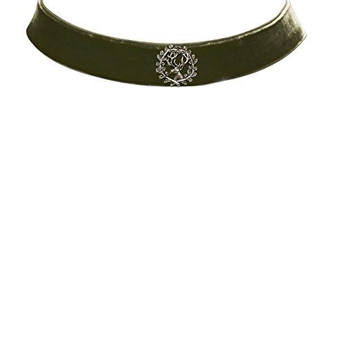 Alpenflüstern Damen Samtkropfband breit mit Hirsch grün DHK17300050