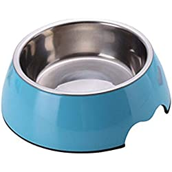 ZZmeet Solid Melamine Plastic Stainless Steel Dog Bowl Dog and Cat Feeder Pet Dinner Dish Feeding and Watering 6 Colors,Blue,M