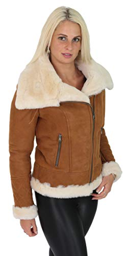 Womens Genuine Sheepskin Jacket Double Face TAN Merino Shearling Aviator Coat - Alexa (Large)
