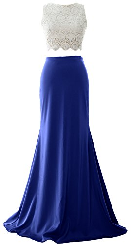 MACloth Long Two Evening Dress Piece Lace Royal Blue Formal Mermaid Jersey Prom Women Gown rwqTI41r