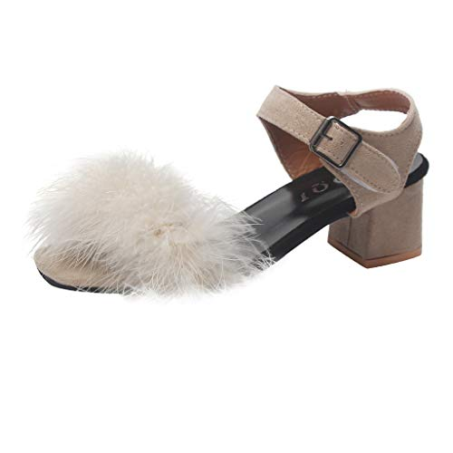 Women Artificial Hairball Band Sandals Chunky Block Heel Ankle Buckled Strap Shoes for Dress Summer Party (41, Beige)