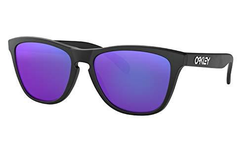 Oakley Frogskins Sunglasses Matte Black with Violet Iridium Lens + ()