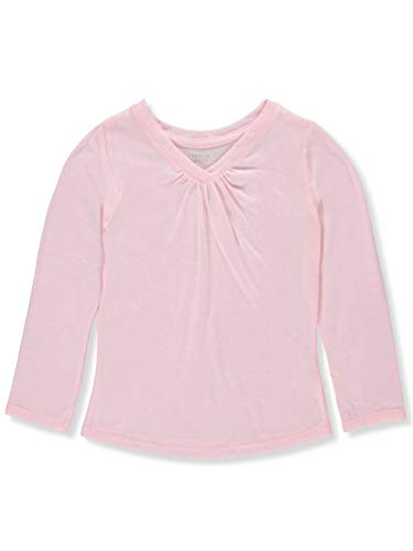 French Toast Little Girls Ruched V-Neck L/S T-Shirt - Light Pink, ()