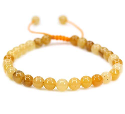 - Natural Multicolor Yellow Jade Gemstone 6mm Round Beads Adjustable Braided Macrame Tassels Chakra Reiki Bracelets 7-9 inch Unisex
