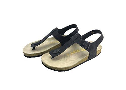 Julia Thong - Julia Women Casual Buckle Thong Strap Sandals Flip Flop Platform Footbed Trends Shoes (7 US, Nubuck Black)