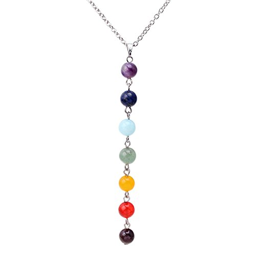 UINKE 7 Chakra Gemstones Crystals Beads Yoga Reiki Healing Energy Balancing Necklace for Women
