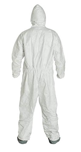 2XL Tyvek Coverall W/ Hood, Zipper, Elastic Wrist & Ankle, With Attached Booties (2XL-25 Suits / 1 Case) TY122S WH-2X-CASE by Tyvek (Image #3)