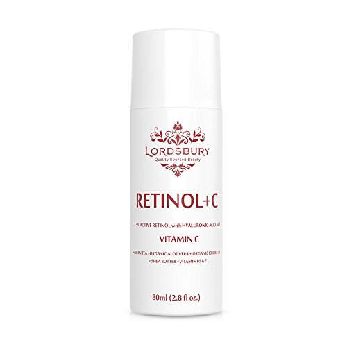 Anti Aging Retinol Cream Moisturizer w Vitamin C and Hyaluronic Acid - Large 2.8 fl oz - Pure Retinol 2.5% + Vitamin C + Organic Aloe - Day & Night on Face, Neck, Hands for Wrinkles - Lordsbury