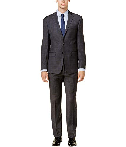 Calvin Klein Mens Plaid Tuxedo Grey 36/Unfinished