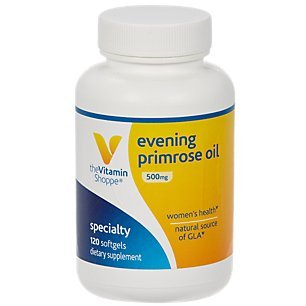 The Vitamin Shoppe Evening Primrose Oil 500MG, Natural Source of GLA (Gammia Linolenic Acid), Supplement for Women's Health Hormonal Balance (120 Softgels)