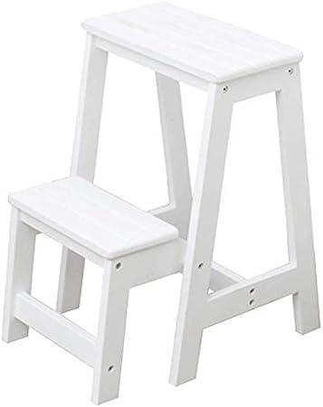 STOOL Escalera de mano Inicio Taburetes de escalera, escalera de madera Taburete de escalera Escalera de pie pequeña Asientos de silla Escalera Escalera de mano Madera cruda Seguridad de doble uso Es: