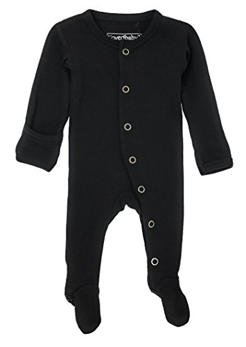 - L'ovedbaby Unisex-Baby Organic Cotton Footed Overall (3-6 Months, Black)