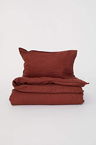 (Pure Linen Duvet Quilt Cover 2pc Set Twin Single Genuine 100% Linen French Country Old Fashion (Rust))
