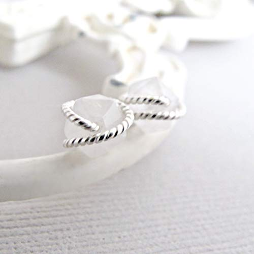 Rough Cut Diamond - White Tourmalinated Quartz Earrings, Raw Quartz Studs, Diamond Cut Earrings Studs, Sterling Silver, Rough Quartz Earrings, Crystal Earrings, Quartz Studs