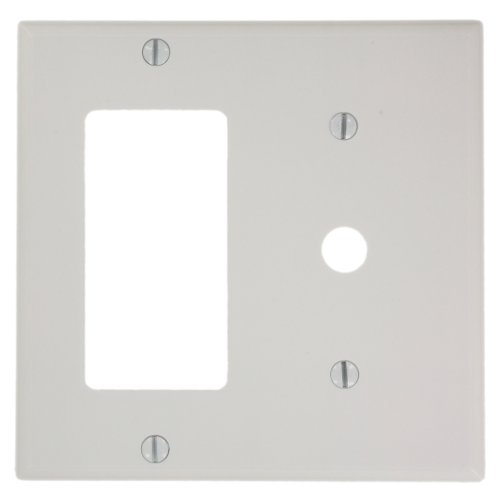 Leviton 80479-W 2-Gang 1-Decora 1-Telephone/Cable .406 Device Combination Wallplate, Thermoset, Strap Mount, White