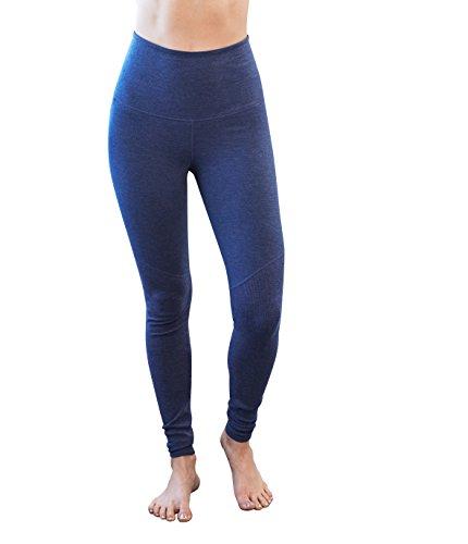 (Manduka Women's E-Cotton High Rise Leggings, Blueberry Heather, Large)