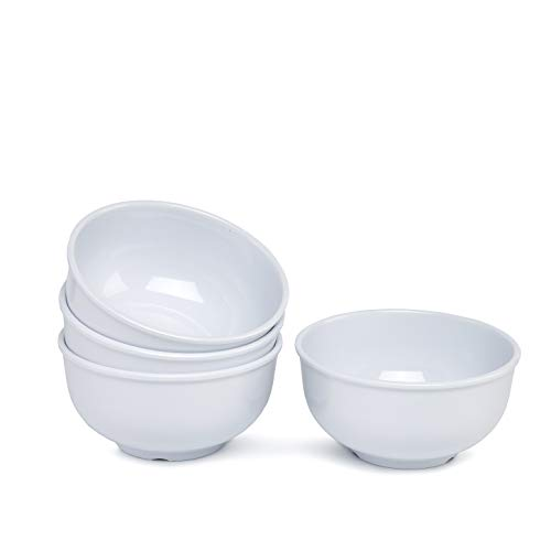 - 5inch Melamine Cereal Bowls Set - 4pcs Dinner Bowls Set for Daily use, Breat-resistant, White ...