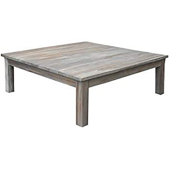 "Amazon.com: Teak Grey Wash Rustic Coffee Table 48"" x 48 ..."