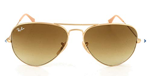 Ray-Ban RB3025 Aviator Sunglasses, Matte Gold/Brown Gradient, 58 ()