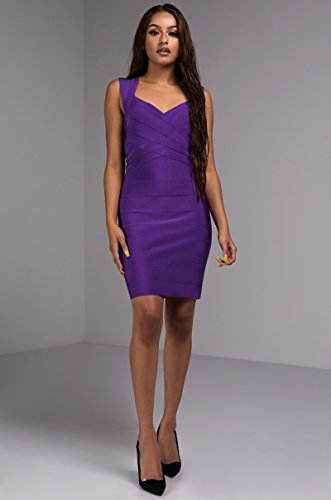 Dress Bodycon Sweetheart s Bandage Midi Stretch Cap Purple Fitted AKIRA Sleeve Women q0v7wF