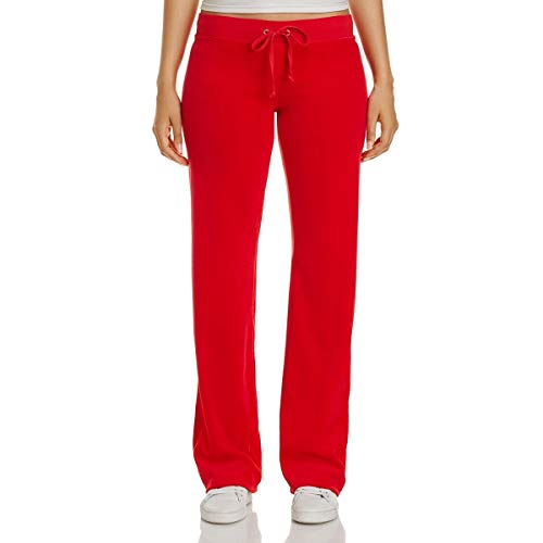 Juicy Couture Black Label Womens Mar Vista Velour Straight Leg Track Pants Red M