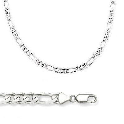 NEW Solid 14k White Gold Figaro Link Chain Necklace 2.5mm 22'' by Sonia Jewels