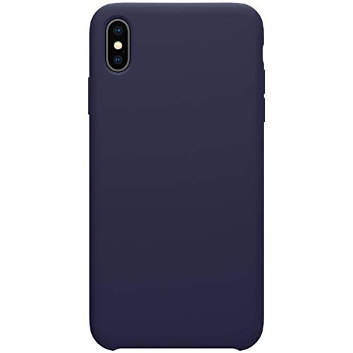 Nillkin Case for Apple iPhone Xs Max (6.5″ Inch) Flex Pure Case Liquid Silicon Finish Anti Finger Print with Inner Microfibre Lining Blue Color