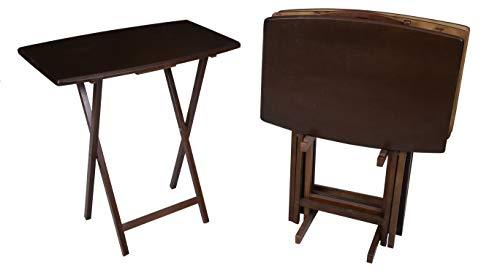 PJ Wood 5-Piece Large Folding TV Tray & Snack Table - Walnut
