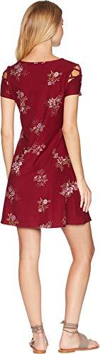 Mauve Caged Shoulder Short Scoop PINK Burgundy Dress Womens Neck ROSE Sleeve Floral Detail nOqwZxU