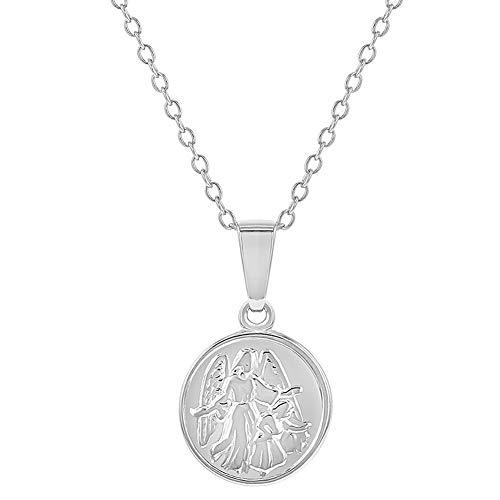 - 925 Sterling Silver Little Guardian Angel Catholic Medal Necklace Pendant 16