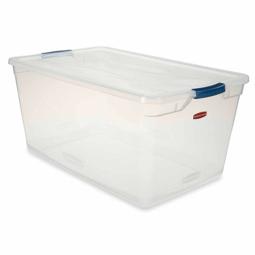 - Rubbermaid 3Q35-00-CLMCB Clever Store Latching Storage Tote Container, 95-Quart, Blue Handle