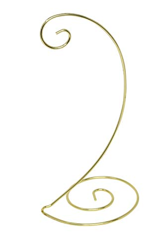 Home-X Spiral Ornament Stand. 13 inch. Gold. Single