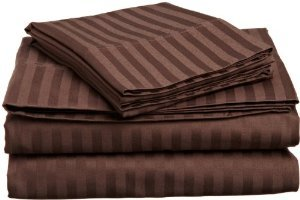Queen Sleeper Sofa Bed Sheet Set 100 Percent Egyptian Cotton 800 Thread Count Chocolate Stripe
