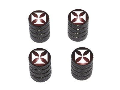 Graphics and More Iron Cross - Tire Rim Valve Stem Caps - Black